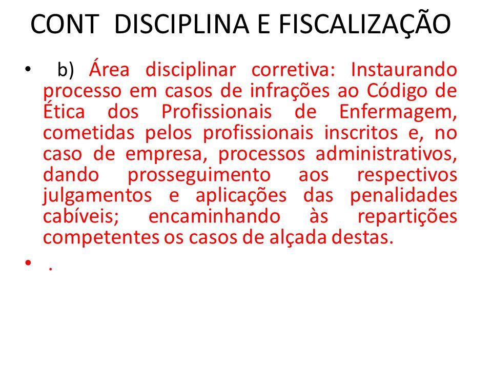 CONT DISCIPLINA E FISCALIZAÇÃO b) Área disciplinar corretiva: Instaurando processo em casos de infrações ao Código de Ética dos Profissionais de Enfer