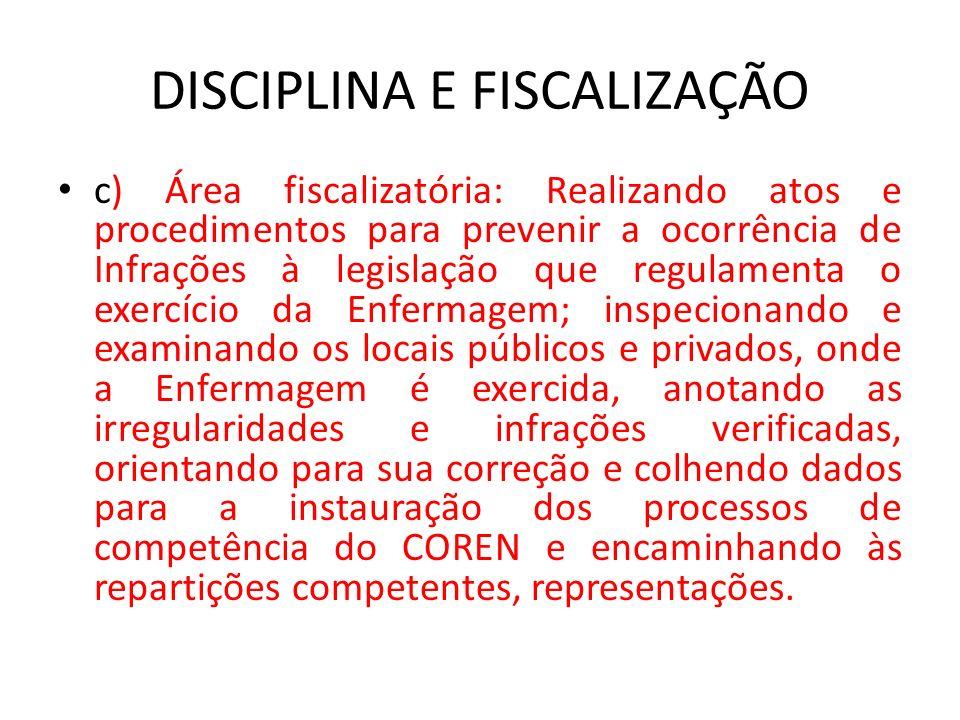 DISCIPLINA E FISCALIZAÇÃO c) Área fiscalizatória: Realizando atos e procedimentos para prevenir a ocorrência de Infrações à legislação que regulamenta
