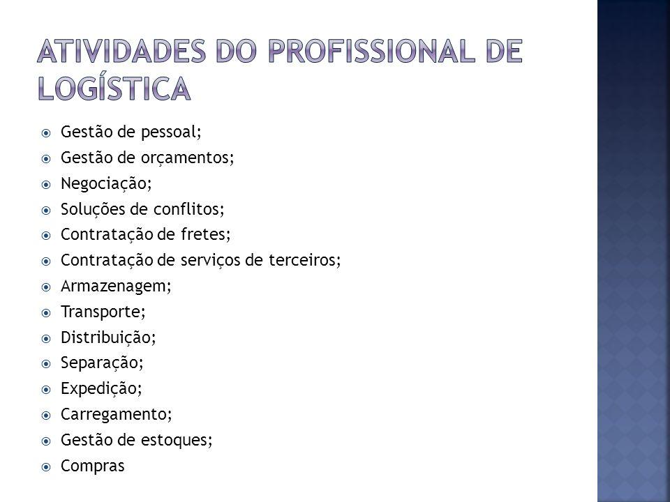 Gestão de pessoal; Gestão de orçamentos; Negociação; Soluções de conflitos; Contratação de fretes; Contratação de serviços de terceiros; Armazenagem;