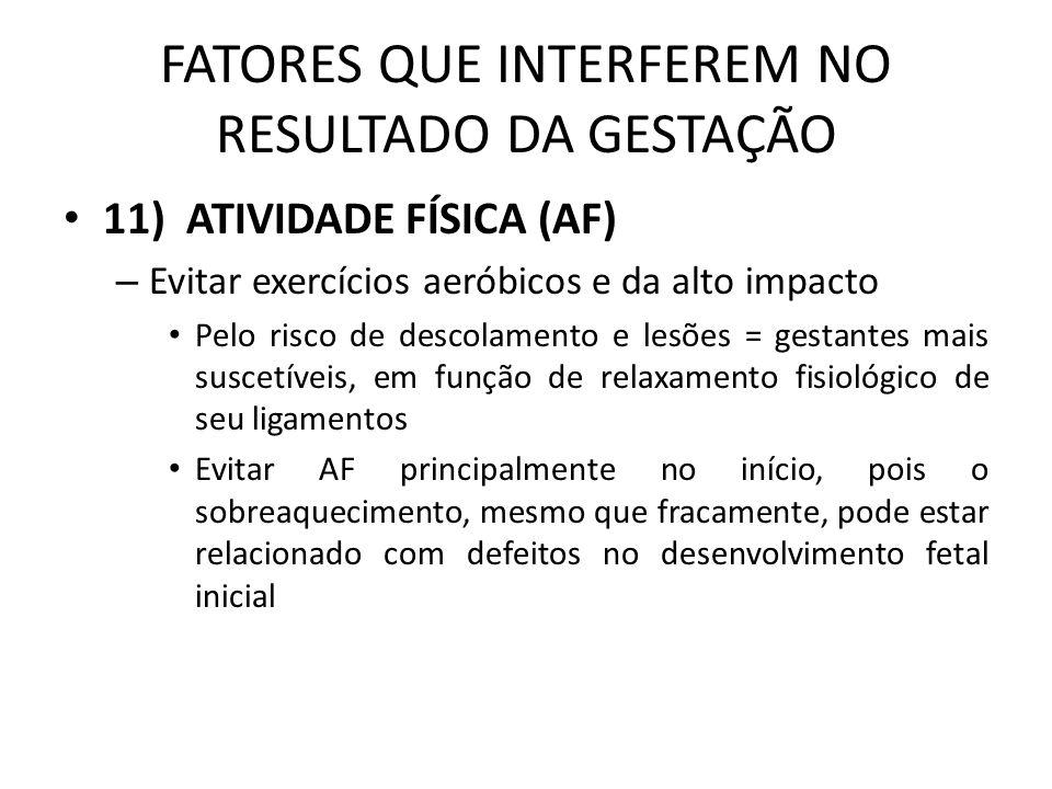 FATORES QUE INTERFEREM NO RESULTADO DA GESTAÇÃO – Cont.