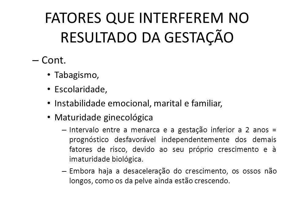FATORES QUE INTERFEREM NO RESULTADO DA GESTAÇÃO – Riscos associados à gestação em mulheres > 35 anos: Aborto espontâneo no 1º T – Descolamento placentário = risco de sangramento = repouso e controle da dieta HAS crônica Distúrbio ou doença hipertensivo específico da gestação (SHEG ou DHEG) DM gestacional Placenta prévia – placenta implantada no colo uterino > risco de sangramento e infecções Anomalias congênitas, mais freqüente acima dos 40 anos, principalmente a Trissomia do 21 Altos índices de morbidade perinatal