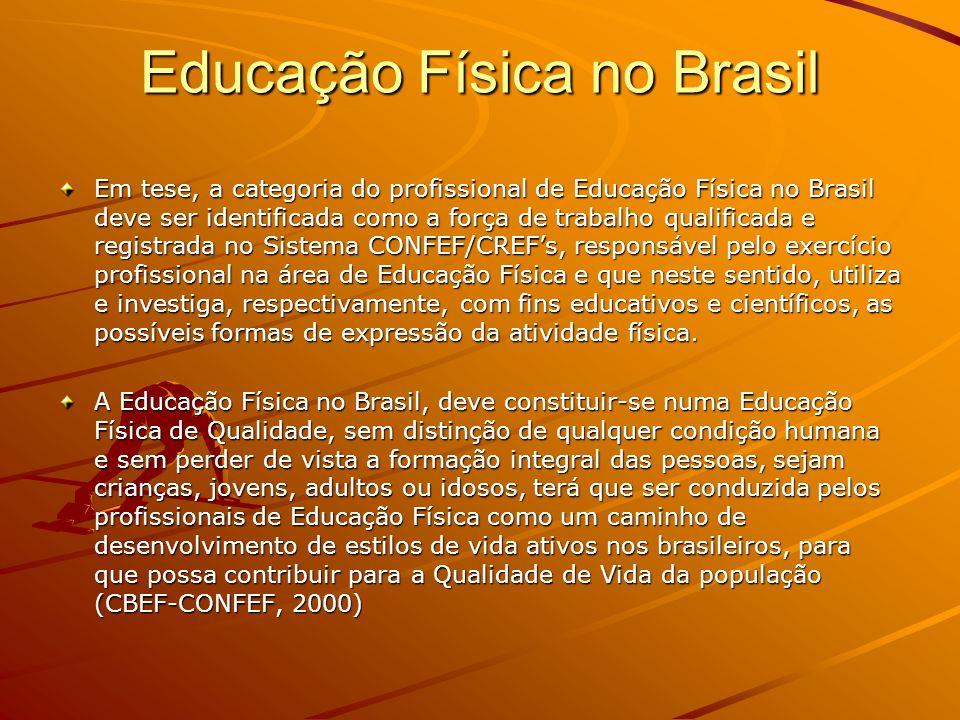 Educação Física no Brasil Em tese, a categoria do profissional de Educação Física no Brasil deve ser identificada como a força de trabalho qualificada