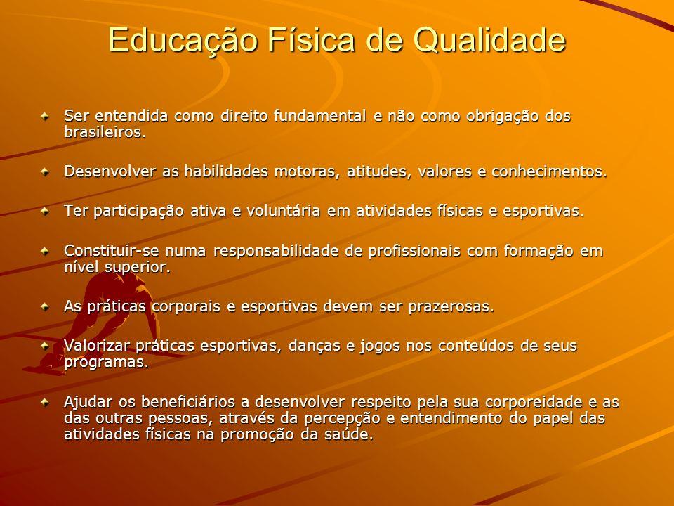 Educação Física de Qualidade Ser entendida como direito fundamental e não como obrigação dos brasileiros. Desenvolver as habilidades motoras, atitudes