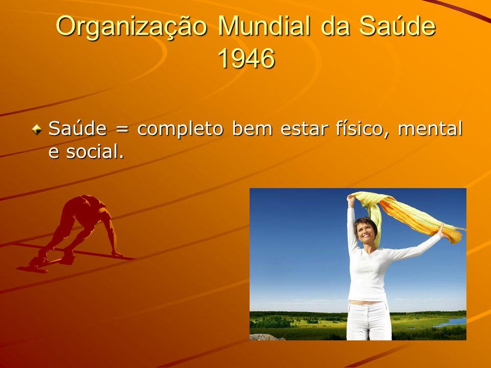 Organização Mundial da Saúde 1946 Saúde = completo bem estar físico, mental e social.
