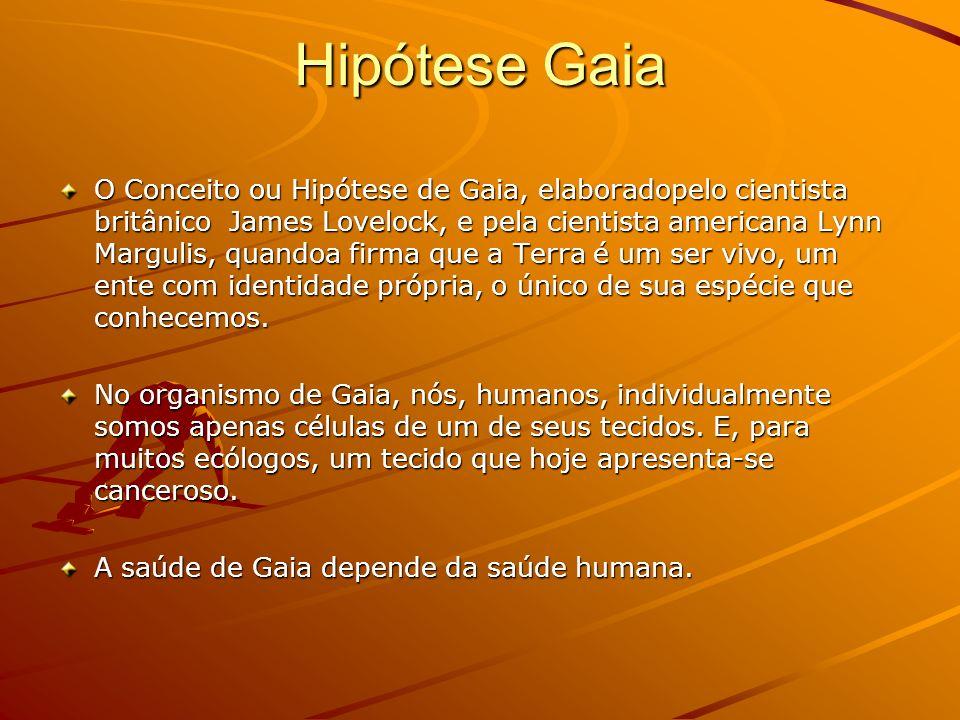 Hipótese Gaia O Conceito ou Hipótese de Gaia, elaboradopelo cientista britânico James Lovelock, e pela cientista americana Lynn Margulis, quandoa firm