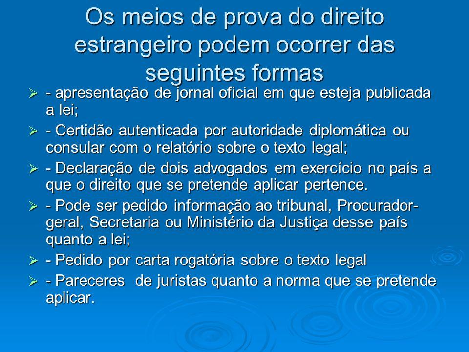 Os meios de prova do direito estrangeiro podem ocorrer das seguintes formas - apresentação de jornal oficial em que esteja publicada a lei; - apresent