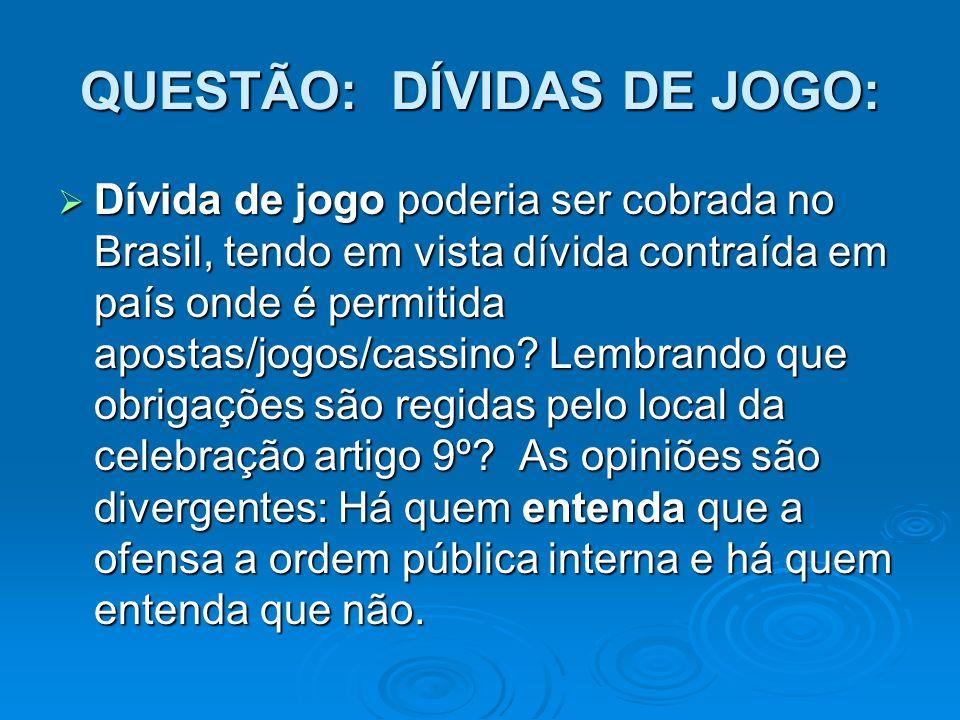 QUESTÃO: DÍVIDAS DE JOGO: Dívida de jogo poderia ser cobrada no Brasil, tendo em vista dívida contraída em país onde é permitida apostas/jogos/cassino