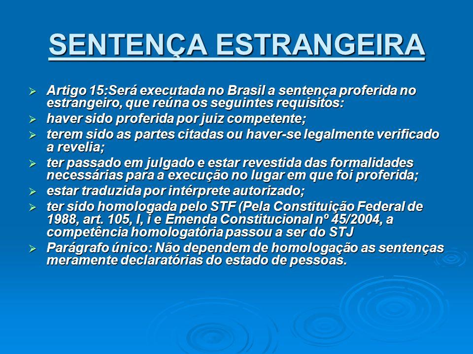 SENTENÇA ESTRANGEIRA Artigo 15:Será executada no Brasil a sentença proferida no estrangeiro, que reúna os seguintes requisitos: Artigo 15:Será executa