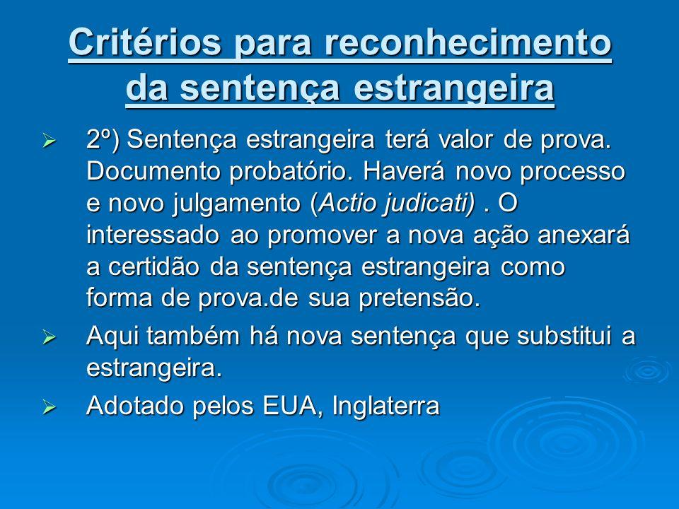 Critérios para reconhecimento da sentença estrangeira 2º) Sentença estrangeira terá valor de prova. Documento probatório. Haverá novo processo e novo