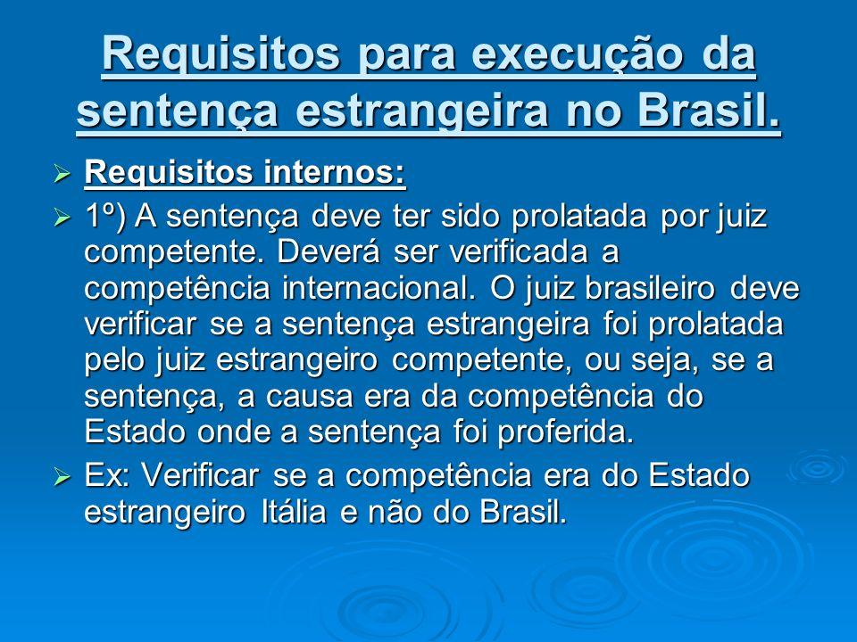 Requisitos para execução da sentença estrangeira no Brasil. Requisitos internos: Requisitos internos: 1º) A sentença deve ter sido prolatada por juiz