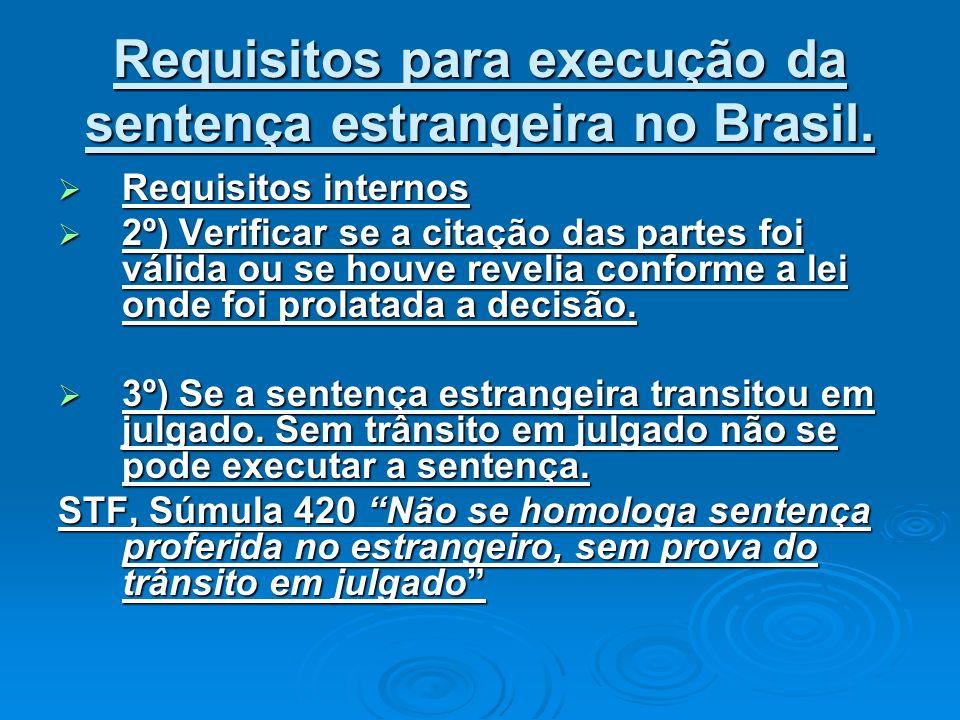 Requisitos para execução da sentença estrangeira no Brasil. Requisitos internos Requisitos internos 2º) Verificar se a citação das partes foi válida o