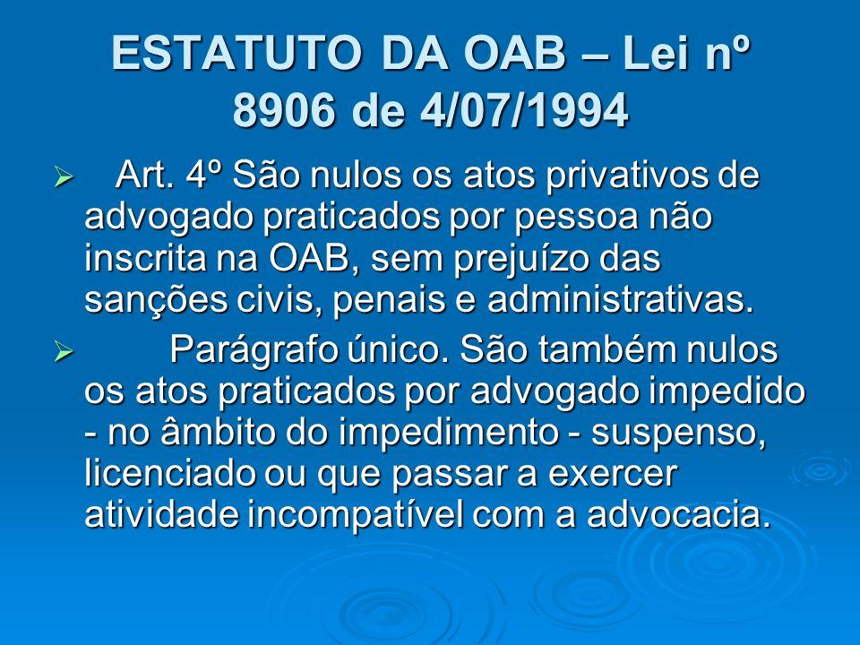 ESTATUTO DA OAB – Lei nº 8906 de 4/07/1994 Art. 4º São nulos os atos privativos de advogado praticados por pessoa não inscrita na OAB, sem prejuízo da