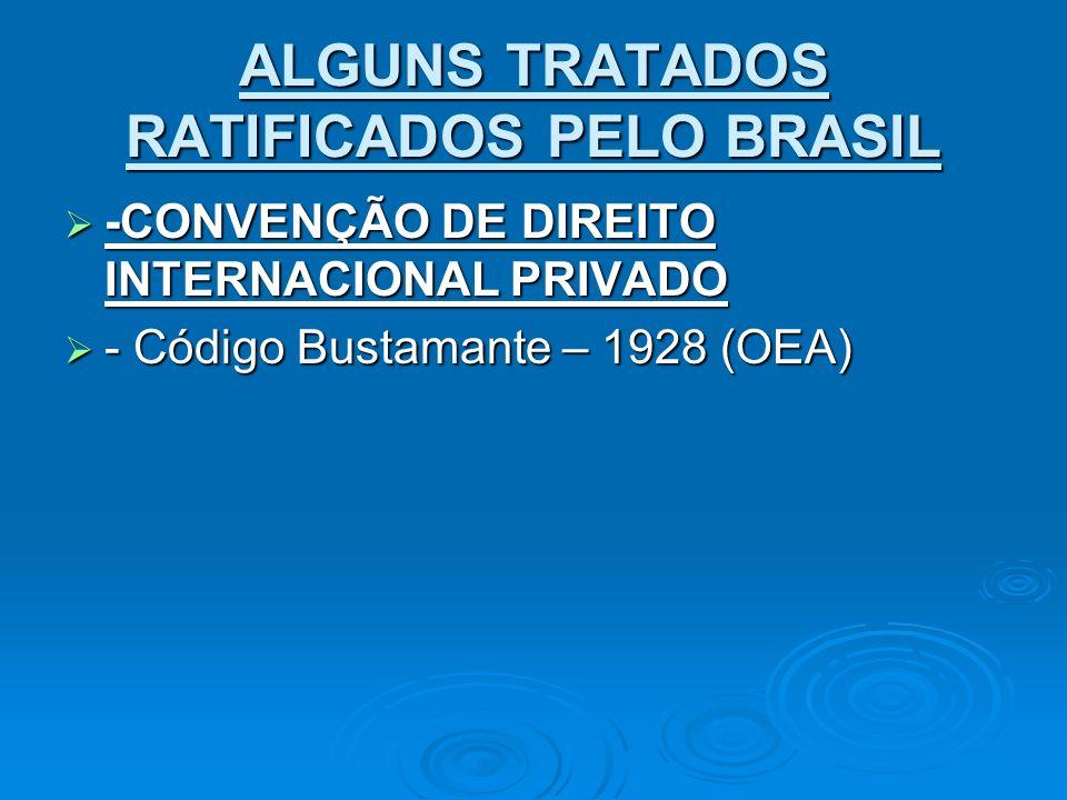 ALGUNS TRATADOS RATIFICADOS PELO BRASIL -CONVENÇÃO DE DIREITO INTERNACIONAL PRIVADO -CONVENÇÃO DE DIREITO INTERNACIONAL PRIVADO - Código Bustamante –