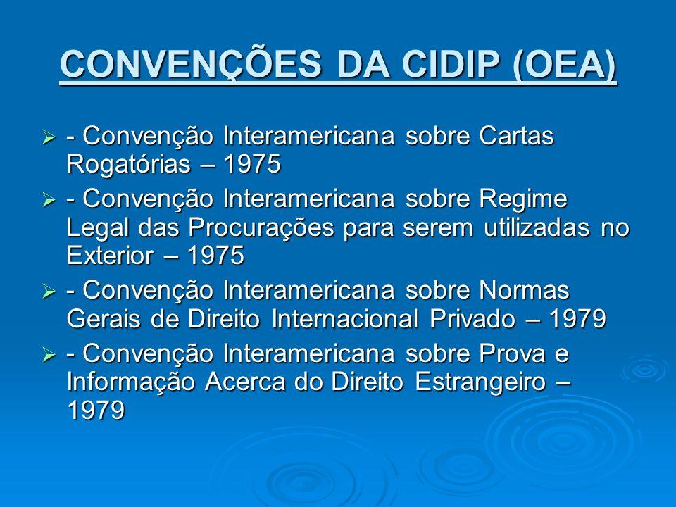 CONVENÇÕES DA CIDIP (OEA) - Convenção Interamericana sobre Cartas Rogatórias – 1975 - Convenção Interamericana sobre Cartas Rogatórias – 1975 - Conven
