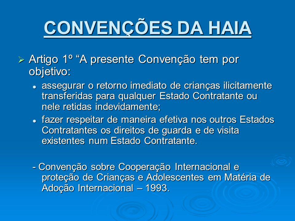 CONVENÇÕES DA HAIA Artigo 1º A presente Convenção tem por objetivo: Artigo 1º A presente Convenção tem por objetivo: assegurar o retorno imediato de c