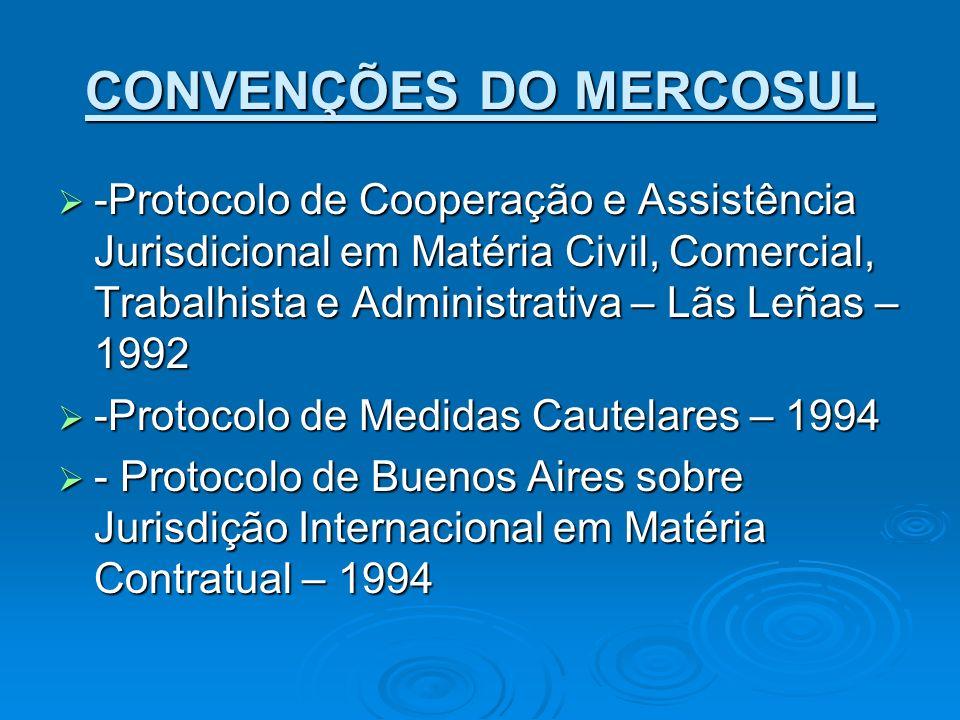 CONVENÇÕES DO MERCOSUL -Protocolo de Cooperação e Assistência Jurisdicional em Matéria Civil, Comercial, Trabalhista e Administrativa – Lãs Leñas – 19