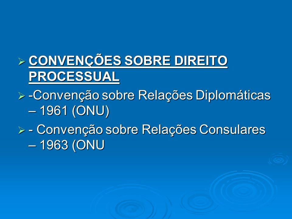 CONVENÇÕES SOBRE DIREITO PROCESSUAL CONVENÇÕES SOBRE DIREITO PROCESSUAL -Convenção sobre Relações Diplomáticas – 1961 (ONU) -Convenção sobre Relações