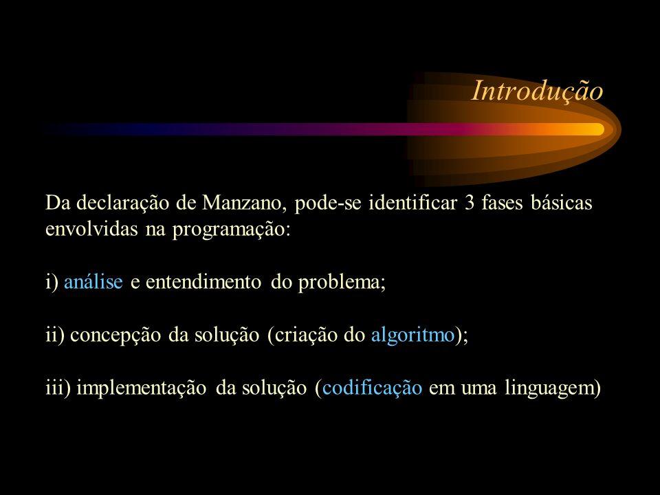 Introdução Da declaração de Manzano, pode-se identificar 3 fases básicas envolvidas na programação: i) análise e entendimento do problema; ii) concepç