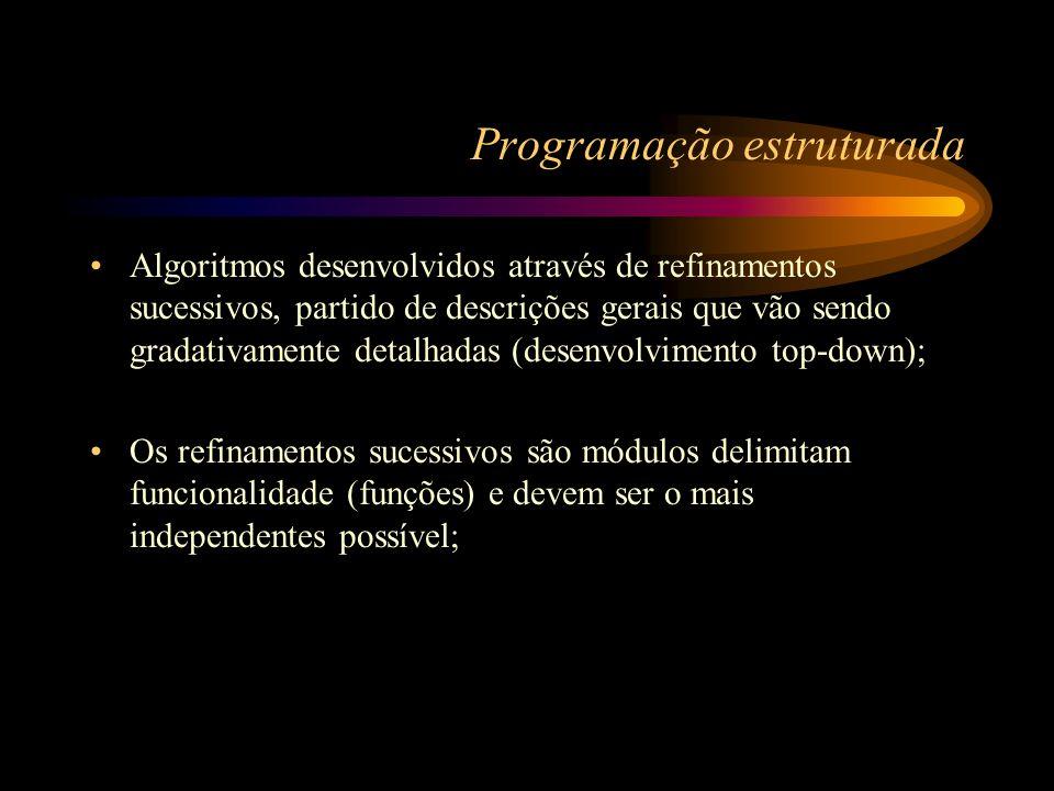 Leia L Início T_anterior=1 T_atual=1 L>1 Fim Escreva (T_atual,T_anterior) T_proximo=T_anterior+T_atual T_proximo<L Escreva (T_proximo) T_anterior=T_atual T_atual=T_proximo N S S N Leia L NS L>1 T_anterior=1 T_atual=1 Fim Escreva (T_atual,T_anterior) Repita T_proximo=T_anterior+T_atual) T_proximo<L N S Escreva (T_proximo)Fim T_anterior=T_atual T_atual=T_proximo Fluxograma Diagrama de Chapin Algoritmo Fibonacci leia (L) se L > 1 então faça T_anterior = 1; T_atual = 1; escreva (T_anterior, T_atual); repita T_proximo = T_anterior + T_atual; se (T_proximo < L) então escreva (T_proximo); T_anterior = T_atual; T_atual = T_proximo; até (T_proximo < L); fim_se fim Pseudo-código Formas de representação de um algoritmo