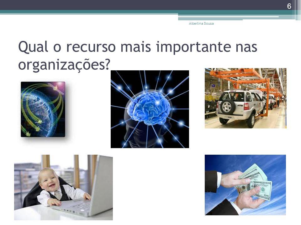 Qual o recurso mais importante nas organizações? Albertina Sousa 6