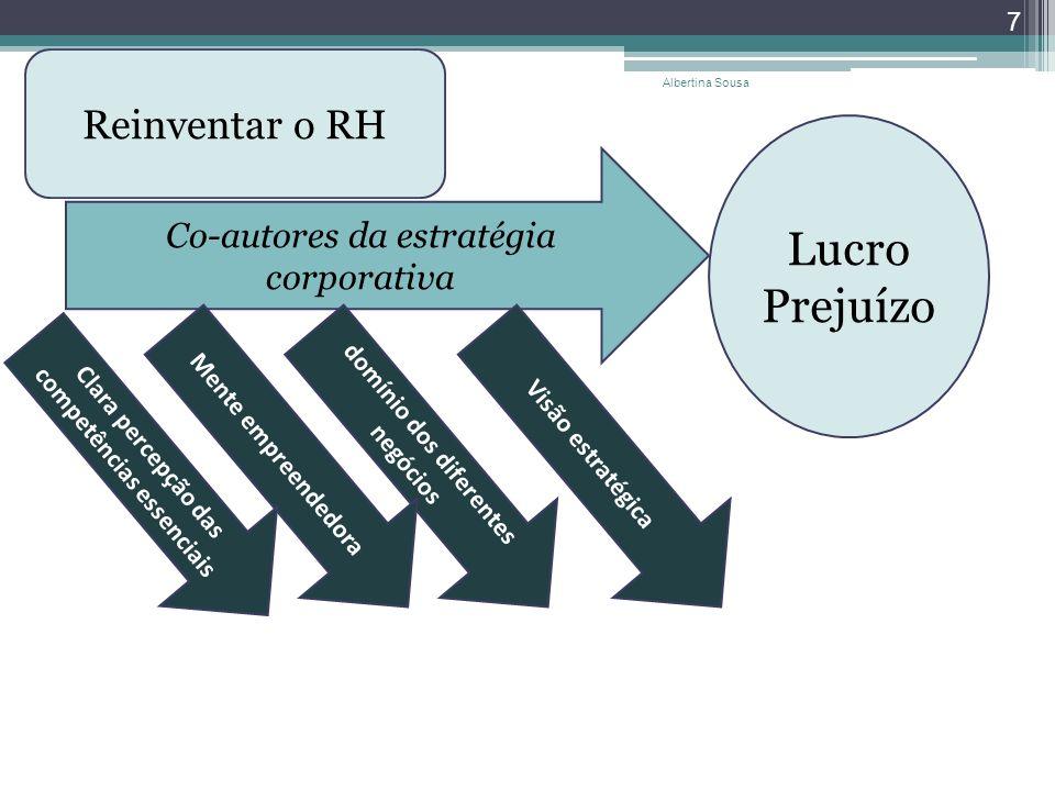 7 Reinventar o RH Co-autores da estratégia corporativa domínio dos diferentes negócios Mente empreendedoraVisão estratégica Clara percepção das compet