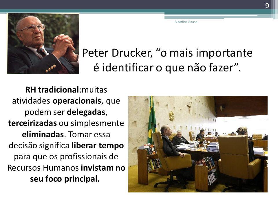 Peter Drucker, o mais importante é identificar o que não fazer. 9 Albertina Sousa RH tradicional:muitas atividades operacionais, que podem ser delegad