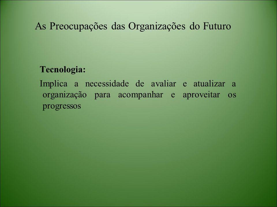 As Preocupações das Organizações do Futuro Tecnologia: Implica a necessidade de avaliar e atualizar a organização para acompanhar e aproveitar os prog