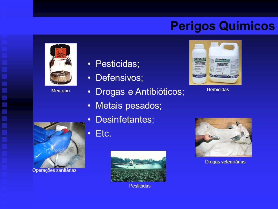 Perigos Químicos Pesticidas; Defensivos; Drogas e Antibióticos; Metais pesados; Desinfetantes; Etc. Mercúrio Pesticidas Herbicidas Drogas veterinárias