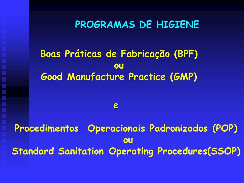 Boas Práticas de Fabricação (BPF) ou Good Manufacture Practice (GMP) PROGRAMAS DE HIGIENE Procedimentos Operacionais Padronizados (POP) ou Standard Sa
