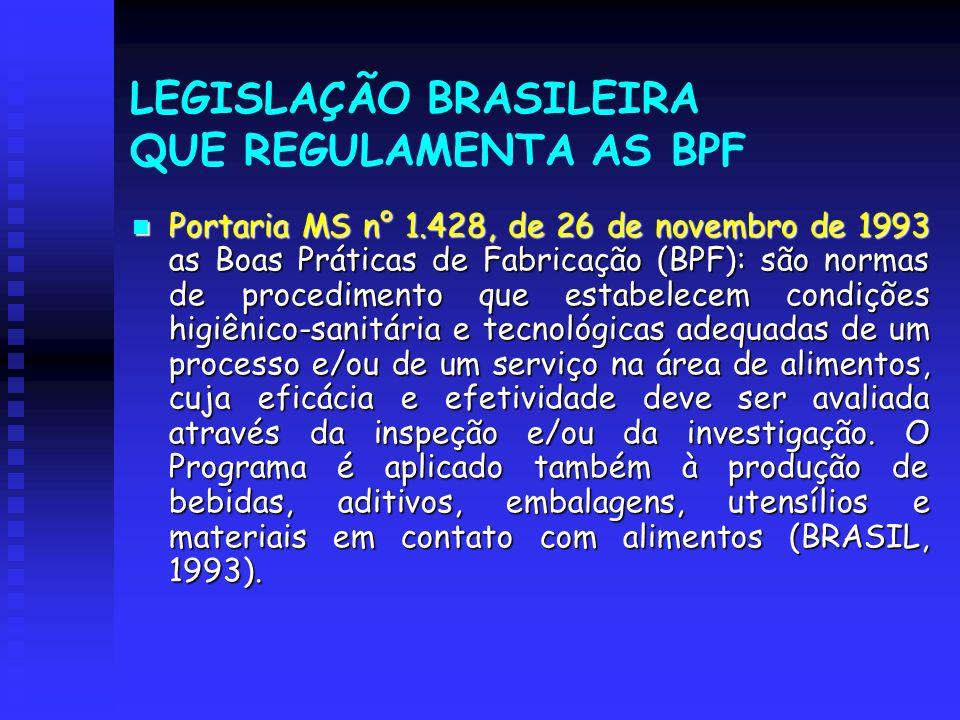 LEGISLAÇÃO BRASILEIRA QUE REGULAMENTA AS BPF Portaria MS n° 1.428, de 26 de novembro de 1993 as Boas Práticas de Fabricação (BPF): são normas de proce