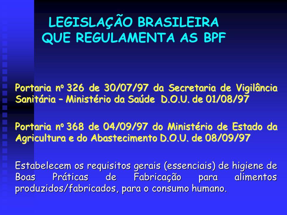 LEGISLAÇÃO BRASILEIRA QUE REGULAMENTA AS BPF Portaria n o 326 de 30/07/97 da Secretaria de Vigilância Sanitária – Ministério da Saúde D.O.U. de 01/08/