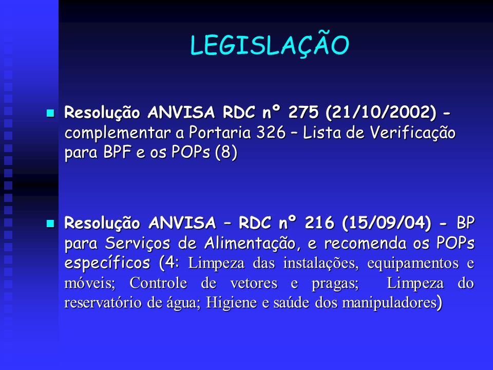 LEGISLAÇÃO Resolução ANVISA RDC nº 275 (21/10/2002) - complementar a Portaria 326 – Lista de Verificação para BPF e os POPs (8) Resolução ANVISA RDC n