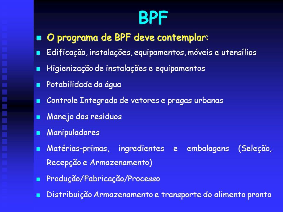 BPF O programa de BPF deve contemplar: O programa de BPF deve contemplar: Edificação, instalações, equipamentos, móveis e utensílios Higienização de i