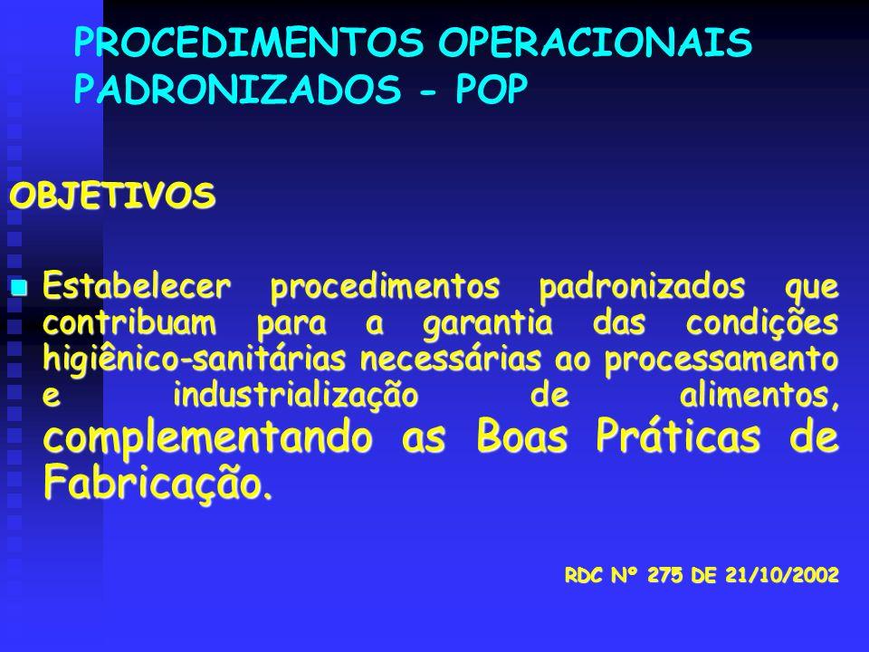 PROCEDIMENTOS OPERACIONAIS PADRONIZADOS - POP OBJETIVOS Estabelecer procedimentos padronizados que contribuam para a garantia das condições higiênico-
