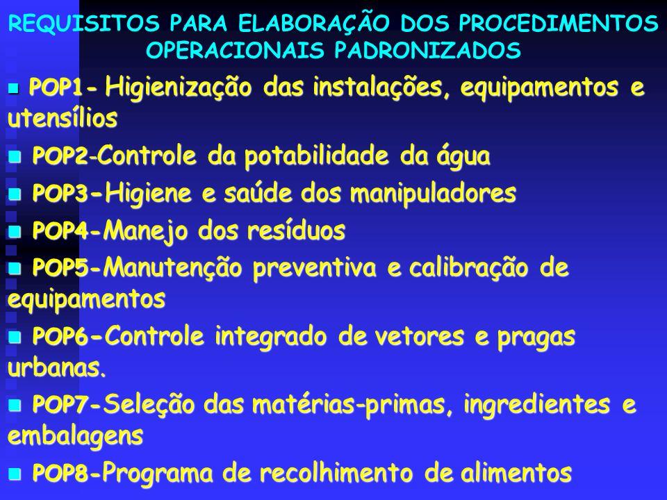 REQUISITOS PARA ELABORAÇÃO DOS PROCEDIMENTOS OPERACIONAIS PADRONIZADOS POP1- Higienização das instalações, equipamentos e utensílios POP1- Higienizaçã