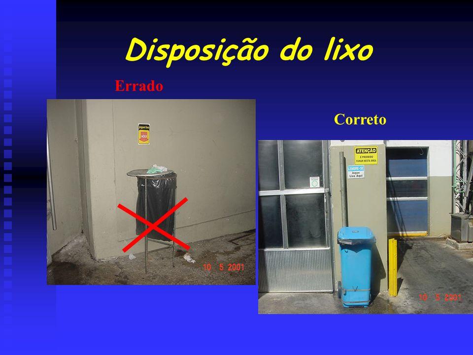 Disposição do lixo Errado Correto