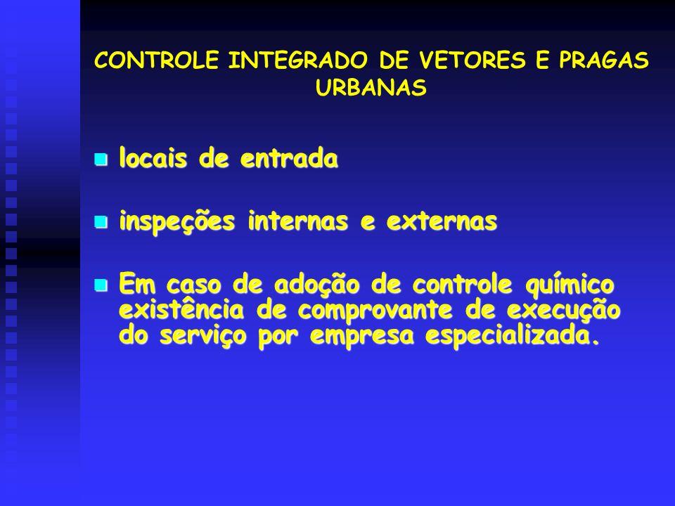 locais de entrada locais de entrada inspeções internas e externas inspeções internas e externas Em caso de adoção de controle químico existência de co