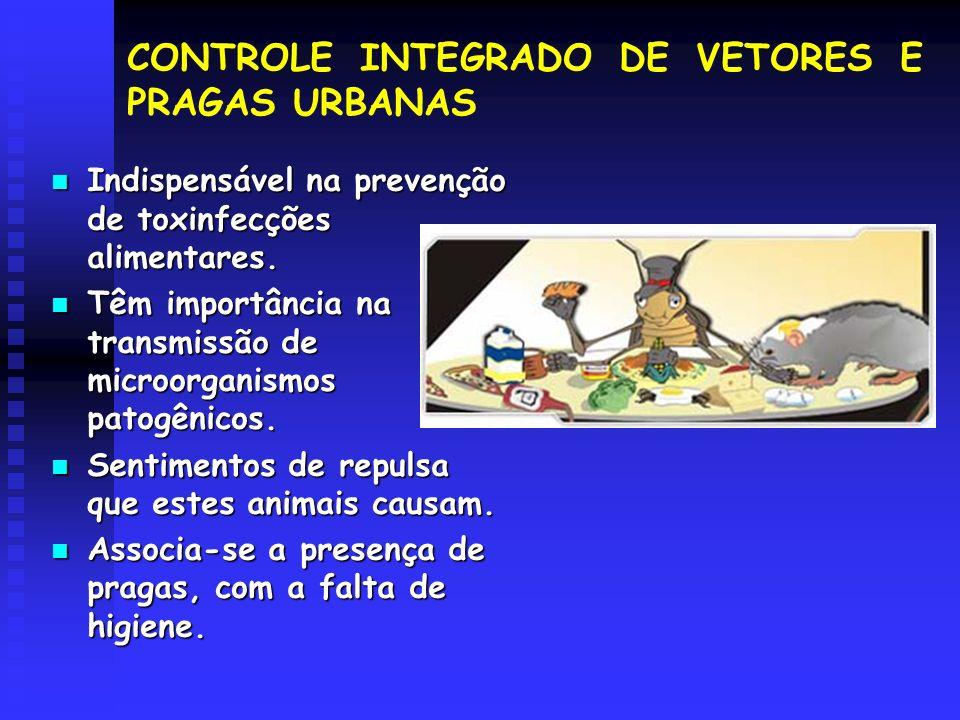 CONTROLE INTEGRADO DE VETORES E PRAGAS URBANAS Indispensável na prevenção de toxinfecções alimentares. Indispensável na prevenção de toxinfecções alim