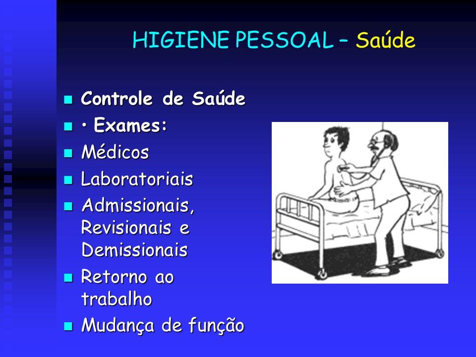 HIGIENE PESSOAL – Saúde Controle de Saúde Controle de Saúde Exames: Exames: Médicos Médicos Laboratoriais Laboratoriais Admissionais, Revisionais e De