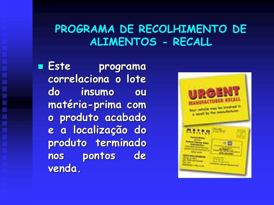 PROGRAMA DE RECOLHIMENTO DE ALIMENTOS - RECALL Este programa correlaciona o lote do insumo ou matéria-prima com o produto acabado e a localização do p