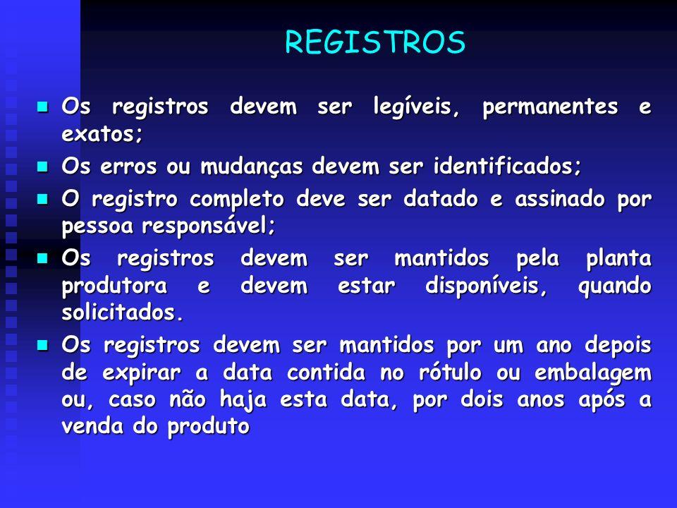 REGISTROS Os registros devem ser legíveis, permanentes e exatos; Os registros devem ser legíveis, permanentes e exatos; Os erros ou mudanças devem ser