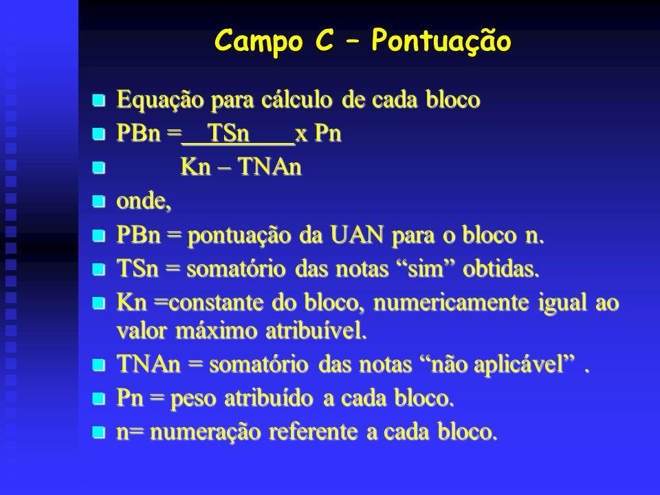 Campo C – Pontuação Equação para cálculo de cada bloco Equação para cálculo de cada bloco PBn = TSn x Pn PBn = TSn x Pn Kn – TNAn Kn – TNAn onde, onde