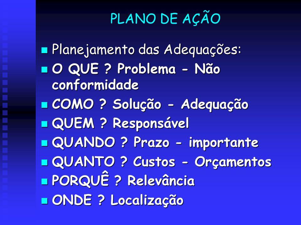 PLANO DE AÇÃO Planejamento das Adequações: Planejamento das Adequações: O QUE ? Problema - Não conformidade O QUE ? Problema - Não conformidade COMO ?