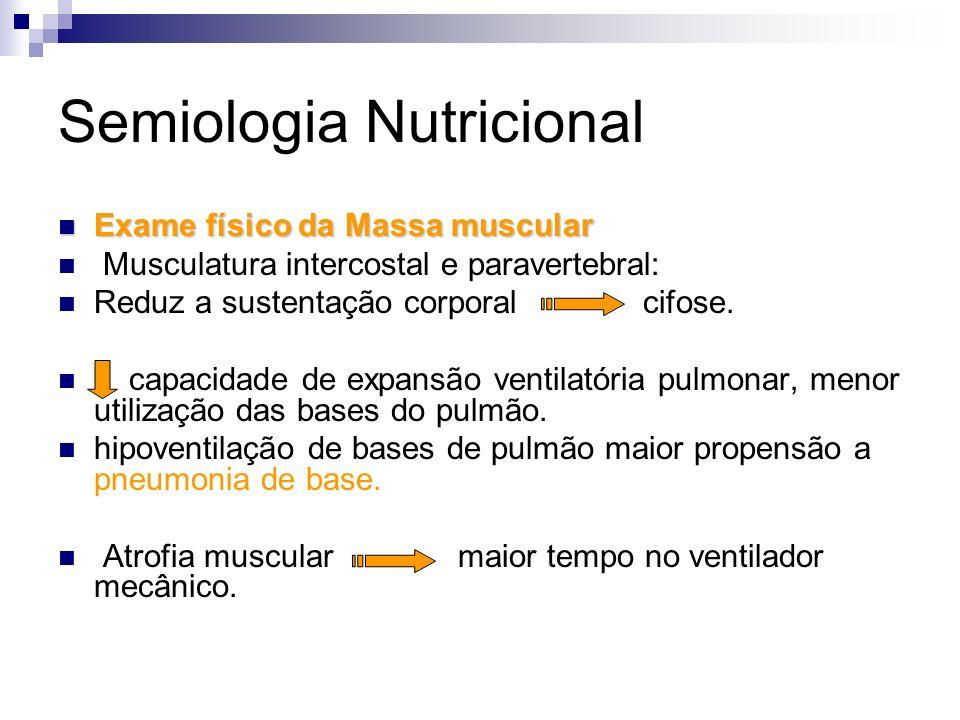 Semiologia Nutricional Exame físico da Massa muscular Exame físico da Massa muscular Musculatura intercostal e paravertebral: Reduz a sustentação corp