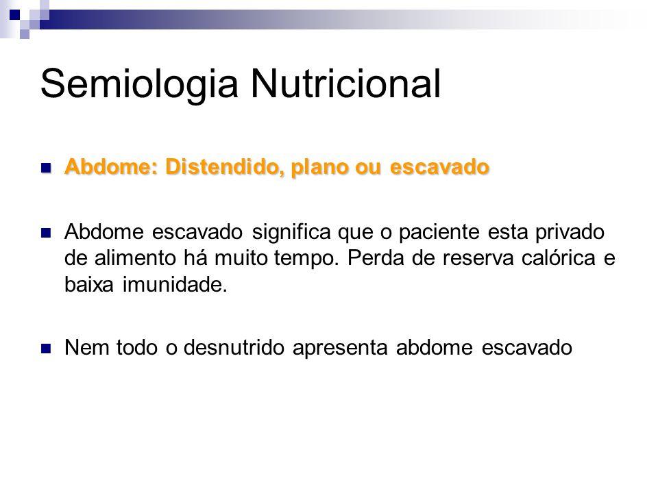 Semiologia Nutricional Abdome: Distendido, plano ouescavado Abdome: Distendido, plano ou escavado Abdome escavado significa que o paciente esta privad