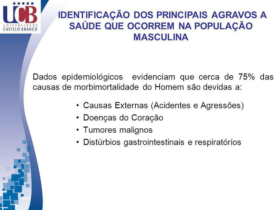 Causas Externas (Acidentes e Agressões) Doenças do Coração Tumores malignos Distúrbios gastrointestinais e respiratórios Dados epidemiológicos evidenc