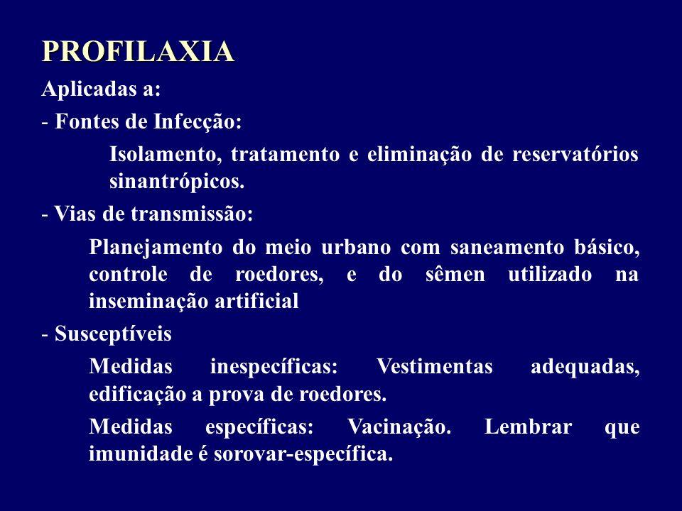 PROFILAXIA Aplicadas a: - Fontes de Infecção: Isolamento, tratamento e eliminação de reservatórios sinantrópicos. - Vias de transmissão: Planejamento
