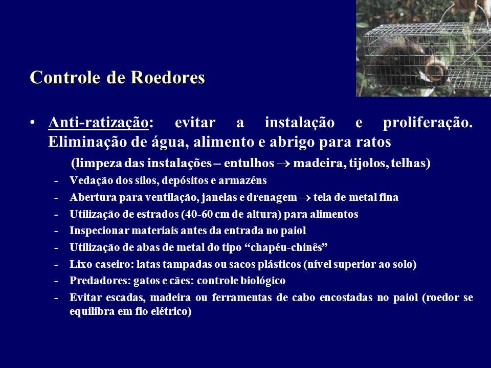 Controle de Roedores Anti-ratização: evitar a instalação e proliferação. Eliminação de água, alimento e abrigo para ratos (limpeza das instalações – e