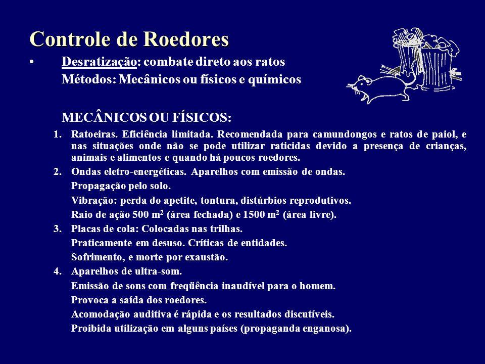 Controle de Roedores Desratização: combate direto aos ratos Métodos: Mecânicos ou físicos e químicos MECÂNICOS OU FÍSICOS: 1.Ratoeiras. Eficiência lim