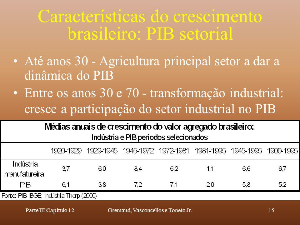 Parte III Capítulo 12Gremaud, Vasconcellos e Toneto Jr.15 Características do crescimento brasileiro: PIB setorial Até anos 30 - Agricultura principal